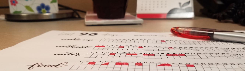 Last 90 Days week 2 progress chart picture on desk